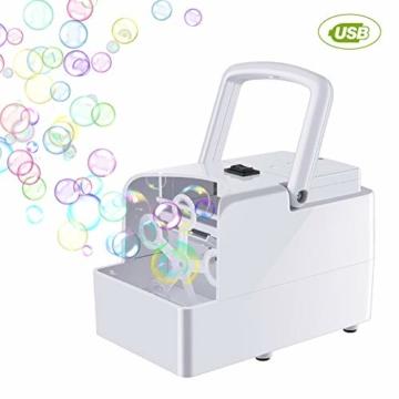 GEEDIAR Seifenblasenmaschine Tragbare, Leichte Automatischer Seifenblasen Maschine Angetrieben von Batterie oder USB für Hochzeit, Geburtstagsfeier, Festival - 1