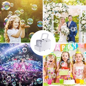 GEEDIAR Seifenblasenmaschine Tragbare, Leichte Automatischer Seifenblasen Maschine Angetrieben von Batterie oder USB für Hochzeit, Geburtstagsfeier, Festival - 7